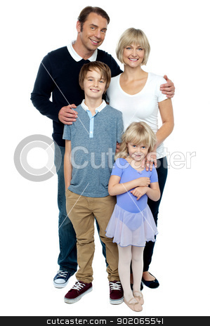 Indoor studio shot of lovely family, four members stock photo, Indoor studio shot of lovely family, four members. Photogenic family by Ishay Botbol