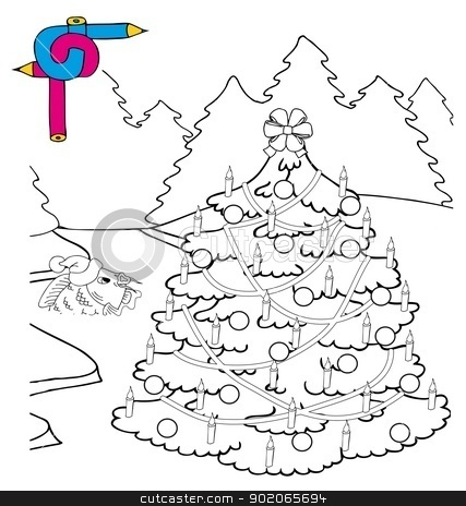 Coloring image Xmas tree stock vector clipart, Coloring image Xmas tree - vector illustration. by connynka
