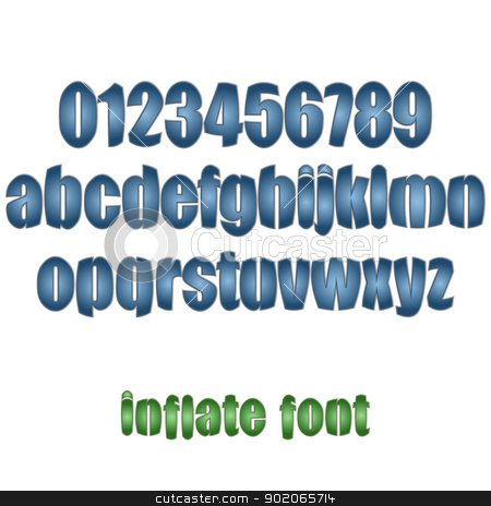 inflate font stock vector clipart, new royalty free set of alphabet letters and numbers can use for text by metrue