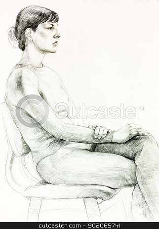 Portrait of a  woman stock photo,  Original pencil  or drawing charcoal, and  hand drawn painting or  working  sketch of a woman sitting in a chair.Free composition by borojoint
