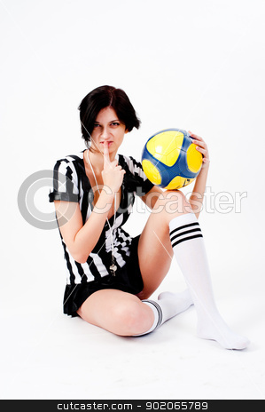 Sexy Soccer Referee stock photo, Beautiful Soccer Referee with ball at white background by Aikon
