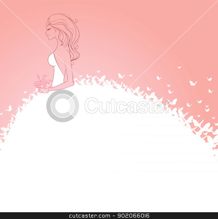 Bride in white dress stock vector clipart, Vector illustration of Bride in white dress by SonneOn