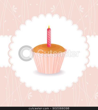 Vintage card with birthday cake stock vector clipart, Vector illustration of Vintage card with birthday cake by SonneOn
