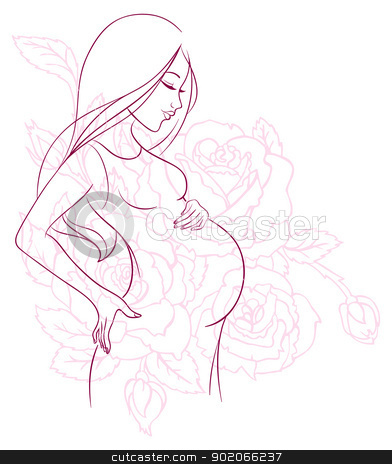 Pregnant woman stock vector clipart, Vector illustration of Pregnant woman by SonneOn