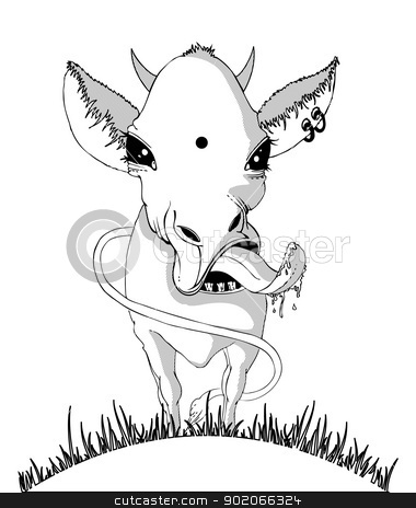 Black&White cow stock vector clipart, Vector illustration of Black&White cow by SonneOn