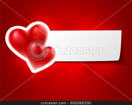 Valentine`s card with red hearts stock vector clipart, Valentine`s card with red hearts by SonneOn