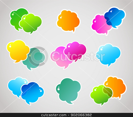 Color hand drawn speech bubbles stock vector clipart, Vector illustration of Color hand drawn speech bubbles by SonneOn