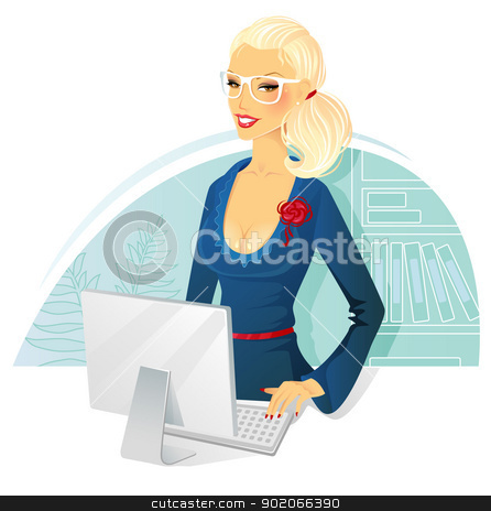 Businesswoman stock vector clipart, Vector illustration of Businesswoman with computer by SonneOn