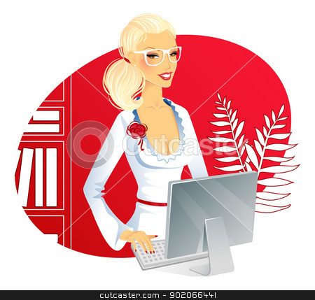 Businesswoman with computer stock vector clipart, Vector illustration of Businesswoman with computer by SonneOn