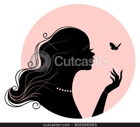 Beauty woman with butterfly stock vector clipart, Vector illustration of Beauty woman with butterfly by SonneOn