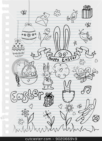Easter Doodle stock vector clipart, Vector illustration of Easter Doodle by SonneOn