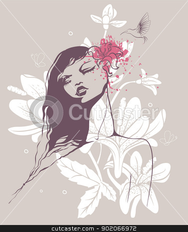 Beauty floral woman stock vector clipart, Vector illustration of Beauty floral woman by SonneOn