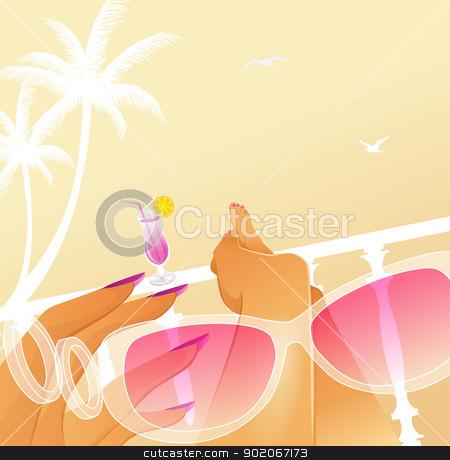 Woman summer vacation stock vector clipart, Vector illustration of Woman summer vacation by SonneOn