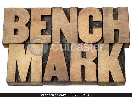 benchmark word stock photo, benchmark - isolated word in vintage letterpress wood type printing blocks by Marek Uliasz
