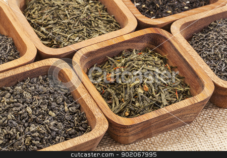 green tea ssample set stock photo, organic green tea samples in square wooden bowls  against canvas by Marek Uliasz