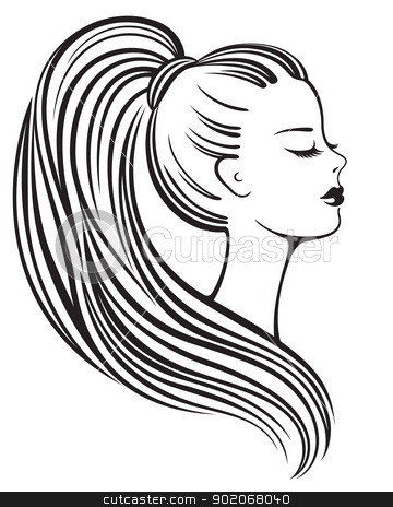 Silhouette of a beautiful young woman stock vector clipart, Elegant black and white line art silhouette of a young woman by Allaya