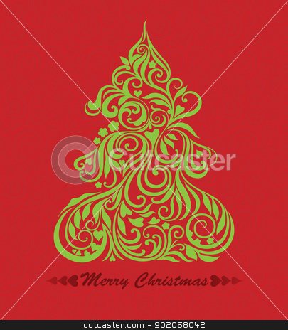 Vector card with christmas tree stock vector clipart, Vector card with christmas tree on the curly red seamless background by Allaya