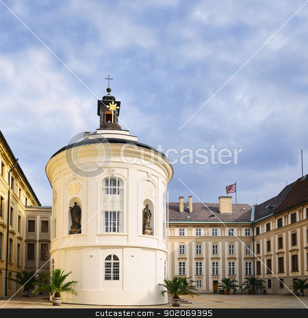 Chapel Of St. Cross  stock photo, Chapel Of St. Cross In Second Courtyard In Prague Castle by Sergej Razvodovskij