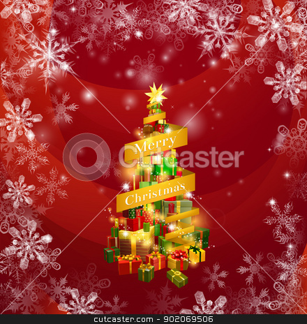 Christmas gifts snowflakes background stock vector clipart, A Christmas background of a stack of gifts with the words Merry Christmas round it and a red snowflakes border background. by Christos Georghiou