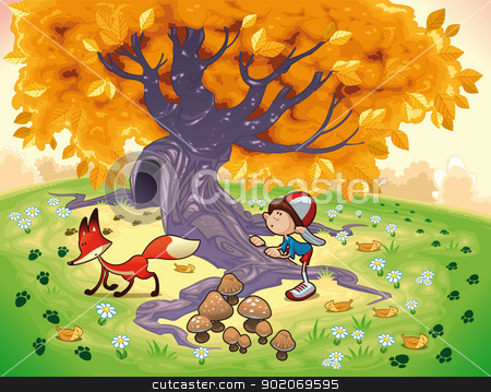 Boy and Fox in the wood. stock vector clipart, Boy and Fox in the wood. Funny cartoon and vector illustration. by ddraw