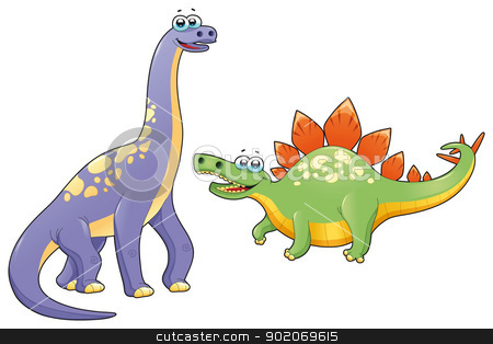 Couple of funny dinosaurs. stock vector clipart, Couple of funny dinosaurs. Cartoon and vector isolated characters. by ddraw