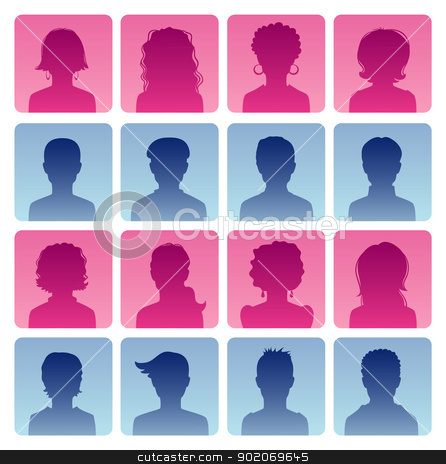 Man and woman avatars  stock vector clipart, Vector illustration of Man and woman avatars  by SonneOn
