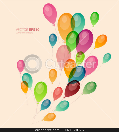 Background with colored balloons stock vector clipart, Vector illustration of Background with colored balloons by SonneOn