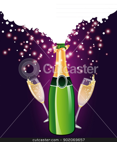 Champagne bottle and glass stock vector clipart, Vector illustration of Champagne bottle and glass by SonneOn