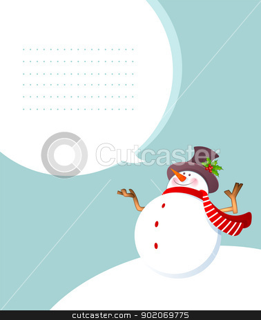 Christmas smiling Snowman stock vector clipart, Vector illustration of Christmas smiling Snowman by SonneOn