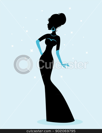 Woman silhouette in dress stock vector clipart, Vector illustration of Woman silhouette in dress by SonneOn