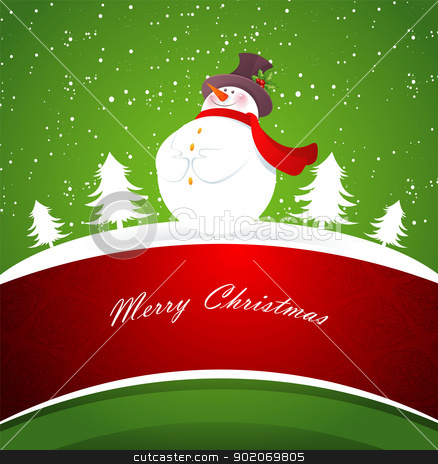 Snowman on green back  stock vector clipart, Vector illustration of Snowman on green back  by SonneOn
