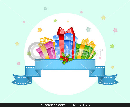 Colorful gift boxes with bows stock vector clipart, Vector illustration of Colorful gift boxes with bows by SonneOn