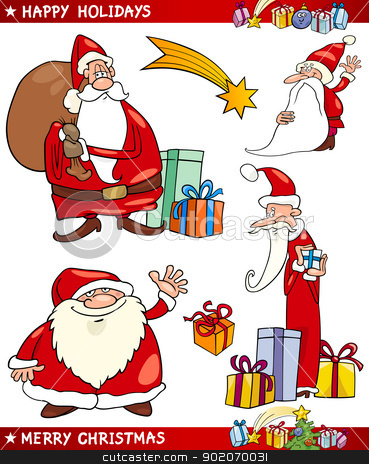 Santa and Christmas Themes Cartoon Set stock vector clipart, Cartoon Illustration of Santa Claus or Papa Noel, Presents, Star and other Christmas Themes set by Igor Zakowski