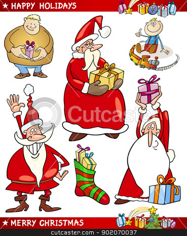 Santa and Christmas Themes Cartoon Set stock vector clipart, Cartoon Illustration of Santa Claus or Papa Noel, Presents, Happy People and other Christmas Themes set by Igor Zakowski