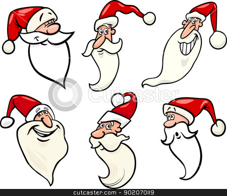 funny santa claus cartoon faces icons set stock vector clipart, Cartoon Illustration of Santa Claus or Papa Noel or Father Christmas Happy Faces Icons Set by Igor Zakowski
