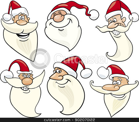 cheerful santa claus cartoon faces icons set stock vector clipart, Cartoon Illustration of Santa Claus or Papa Noel or Father Christmas Happy Faces Icons Set by Igor Zakowski