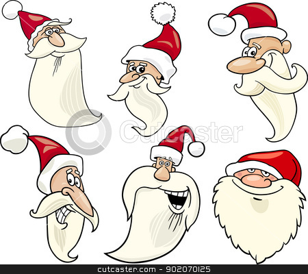 happy santa claus cartoon faces icons set stock vector clipart, Cartoon Illustration of Santa Claus or Papa Noel or Father Christmas Happy Faces Icons Set by Igor Zakowski