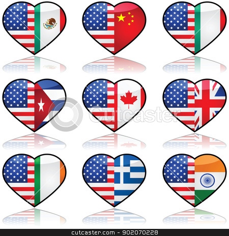 USA divided love stock vector clipart, Icon collection showing the flag of the United States in a divided heart sharing it with other nationalities that have a significant number of immigrants in the country by Bruno Marsiaj
