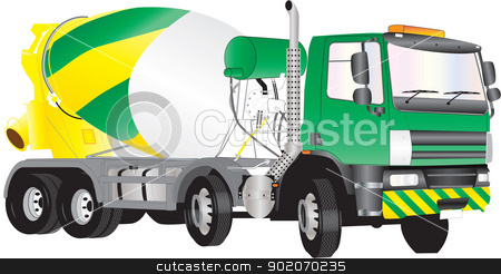 Concrete Mixer Truck stock vector clipart, A Green and Yellow Concrete Mixer Truck isolated on white by d40xboy