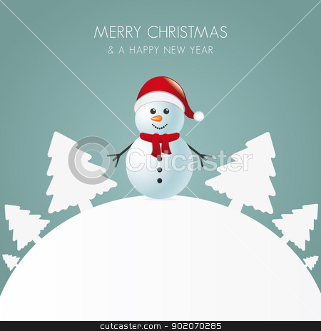 snowman with scarf white tree background stock vector clipart, snowman with scarf white tree background world by d3images
