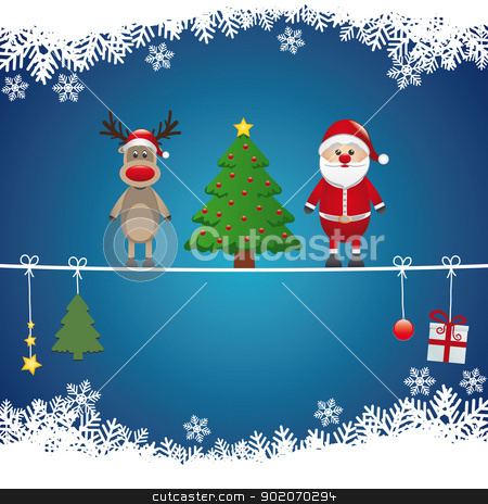santa reindeer tree twine snow background stock vector clipart, santa reindeer tree on twine snow background by d3images