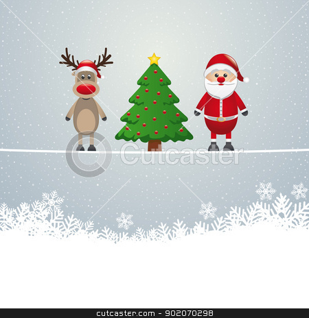 santa reindeer tree twine snowy background stock vector clipart, santa reindeer tree on twine snowy background by d3images