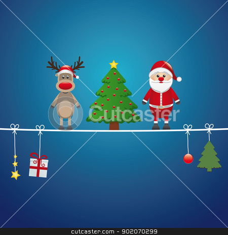 santa reindeer tree twine blue background stock vector clipart, santa reindeer tree on twine blue background by d3images