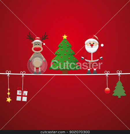 santa reindeer tree twine red background stock vector clipart, santa reindeer tree on twine red background by d3images