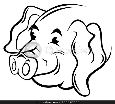 Pig symbol stock vector clipart, Illustration of pig isolated on white by oxygen64