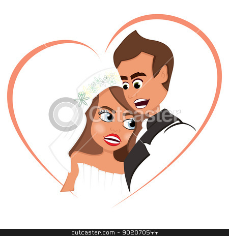 Newlyweds in love stock vector clipart, Portrait of groom and bride inside heart shape by Oxygen64