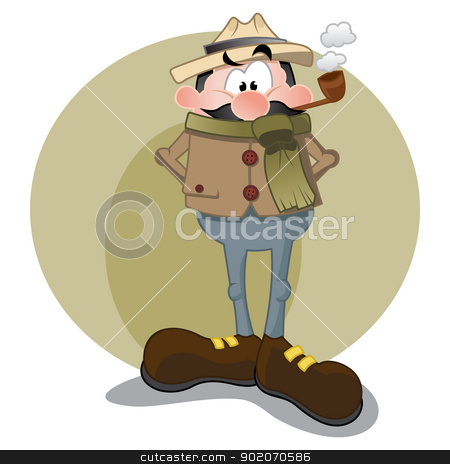 Sherlock Holmes stock vector clipart, Gentleman with tobacco pipe and hat by Oxygen64