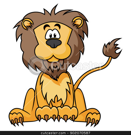 Cute Lion stock vector clipart, Cartoon illustration of Lion isolated on white by oxygen64