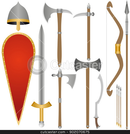 Weapon and armor of Old Russian soldiers stock photo, Set of the weapon and armor of the ancient soldier. An illustration on a white background. by Sergey Skryl