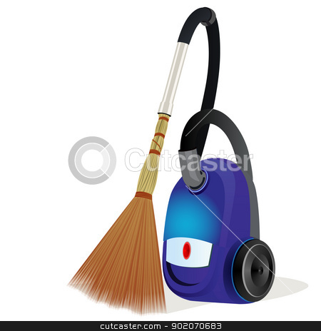 A vacuum cleaner with a broom stock photo, Modern vacuum cleaner with a broom. Humorous Illustration. Illustration on white background. by Sergey Skryl